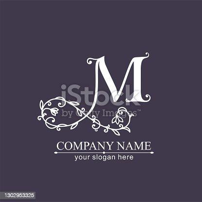 istock Premium Vector M logo. Monnogram. Personal logo or sign for branding an elite company. 1302953325