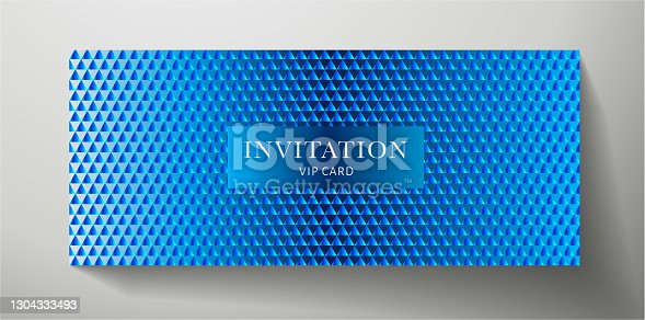 istock Premium VIP Invitation template with abstract blue triangle pattern (texture) 1304333493