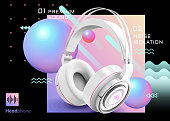 Premium white headphone ads on trendy geometric background in 3d illustration, sphere and wave elements