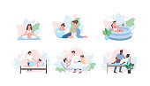 Prenatal care flat color vector faceless character set. Pregnancy yoga. Midwife help parent. Alternative childbirth isolated cartoon illustration for web graphic design and animation collection