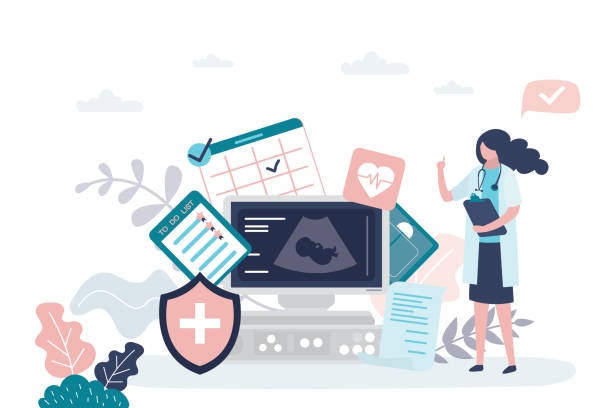 Prenatal health care concept. Female doctor,ultrasound machine and medical signs. Pregnancy Planning and To Do List. Prenatal health care concept. Female doctor,ultrasound machine and medical signs. Pregnancy Planning and To Do List. Trendy style vector illustration gynecology stock illustrations