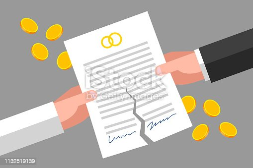 Torn prenuptial agreement is in man's and woman's hands, gold coins are around. Family, divorcement and law