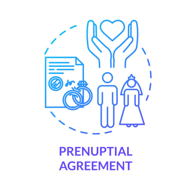 Prenuptial agreement blue concept icon. Aid with alimony. Partner commitment. Contract for married couple. Notary service idea thin line illustration. Vector isolated outline RGB color drawing Prenuptial agreement blue concept icon. Aid with alimony. Partner commitment. Contract for married couple. Notary service idea thin line illustration. Vector isolated outline RGB color drawing alimony stock illustrations