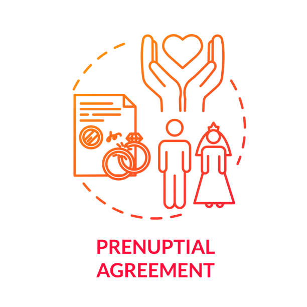 Prenuptial agreement red concept icon. Papers for divorce. Partner commitment. Contract for married couple. Notary service idea thin line illustration. Vector isolated outline RGB color drawing Prenuptial agreement red concept icon. Papers for divorce. Partner commitment. Contract for married couple. Notary service idea thin line illustration. Vector isolated outline RGB color drawing alimony stock illustrations
