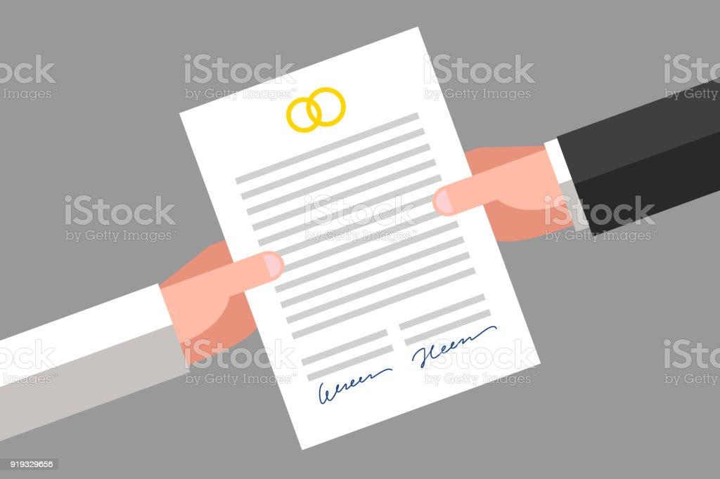 Prenuptial agreement-Frase Curta - ilustração de arte em vetor