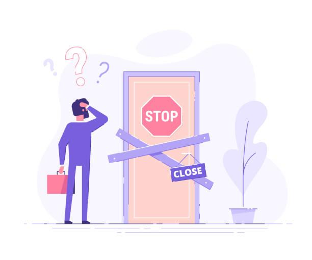 점령 된 사업가는 닫힌 문 근처에 서 서 머리를 긁 습니다. 문제와 질문의 비유. 현대 벡터 일러스트입니다. - 단정한 사무복 stock illustrations