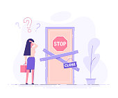 Preoccupied business woman is standing near the closed door and scratching his head. Metaphor of issues and questions. Modern vector illustration.