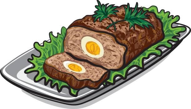 vorbereitete fleischstück - hackfleischbraten stock-grafiken, -clipart, -cartoons und -symbole