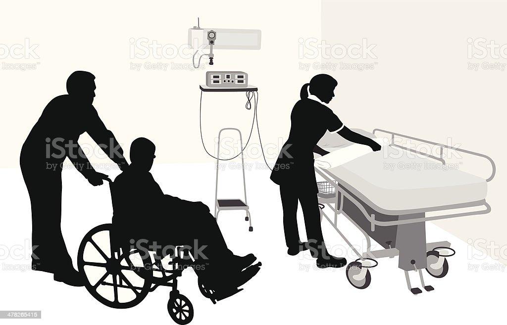 Preparing A Bed vector art illustration