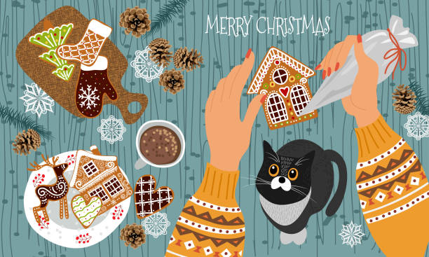 ilustrações de stock, clip art, desenhos animados e ícones de preparing for christmas and new year. cute flat vector illustration - hands with a pastry bag decorate gingerbread cookies with icing and cat watching the process. - christmas cooking