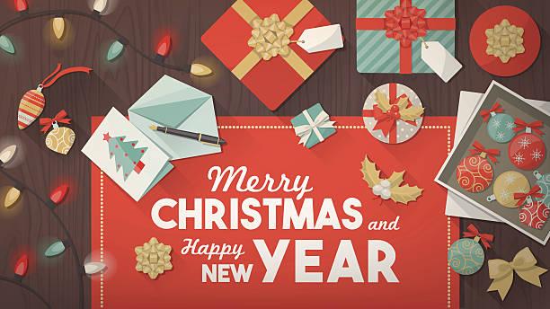 ilustrações de stock, clip art, desenhos animados e ícones de preparar para o natal - christmas table
