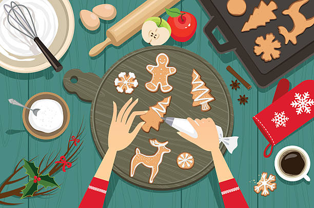 illustrazioni stock, clip art, cartoni animati e icone di tendenza di preparazione per il natale - christmas cooking