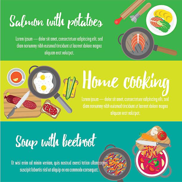 bildbanksillustrationer, clip art samt tecknat material och ikoner med preparing home-cooked meal. - frying pan