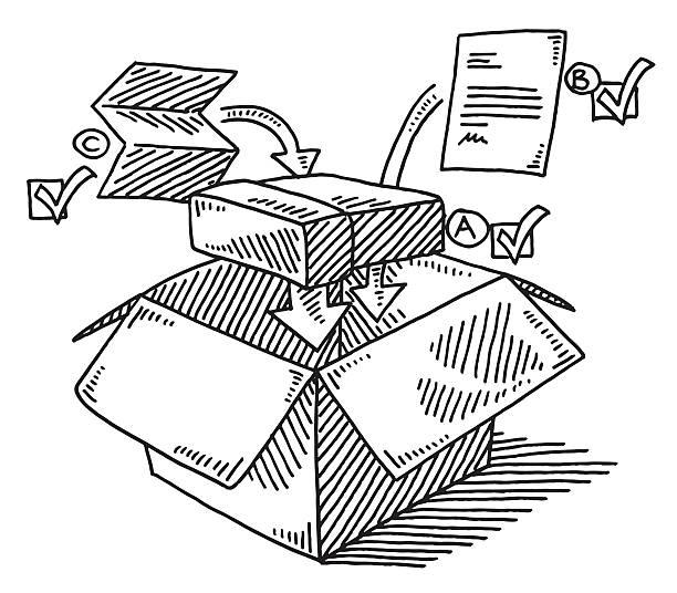 preparing of shipping a product drawing - sokmak stock illustrations