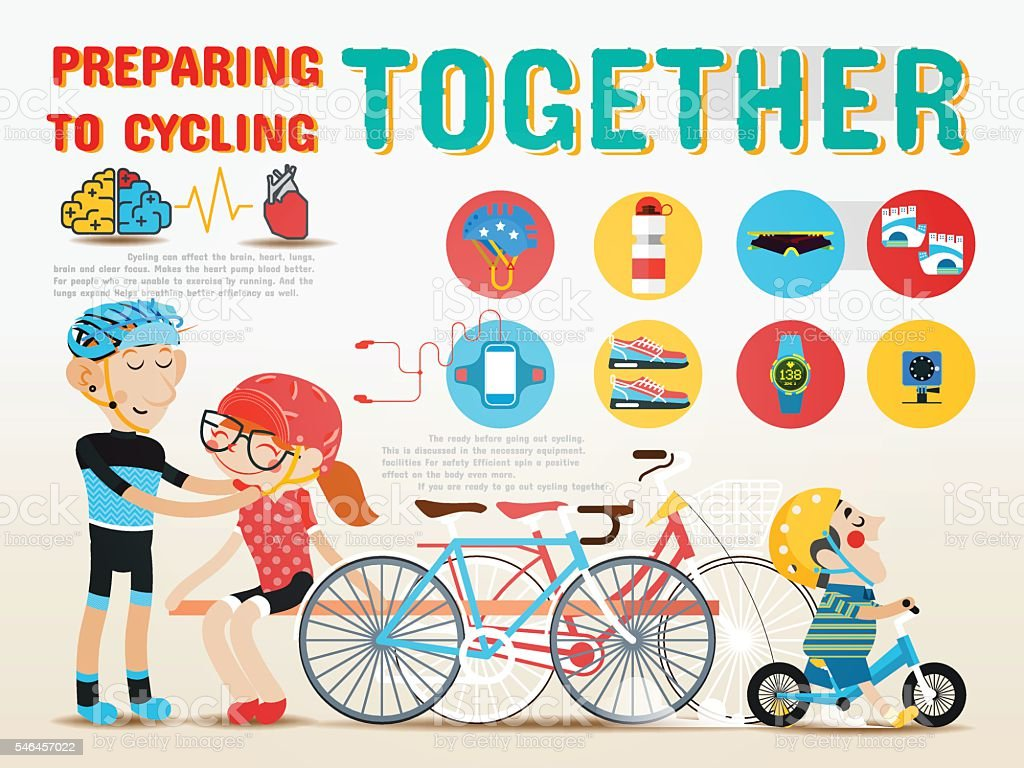 Preparing to cycling together. vector art illustration