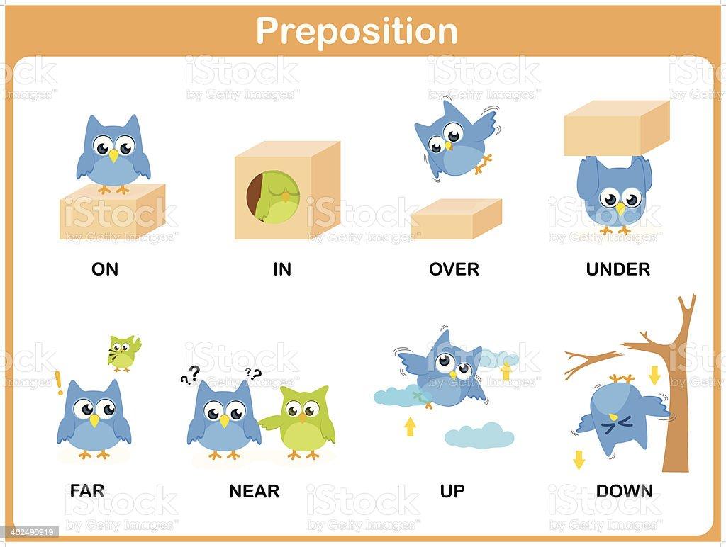 Preposition of motion for preschool royalty-free stock vector art