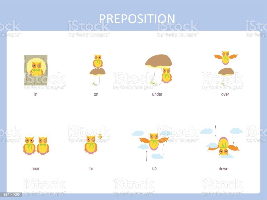 Preposition of motion for preschool vector art illustration