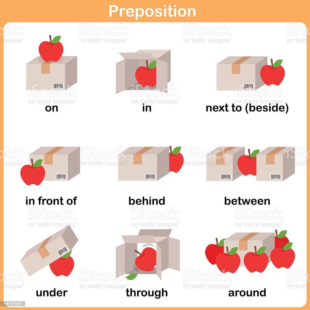 Preposition of motion for preschool - Worksheet for education vector art illustration