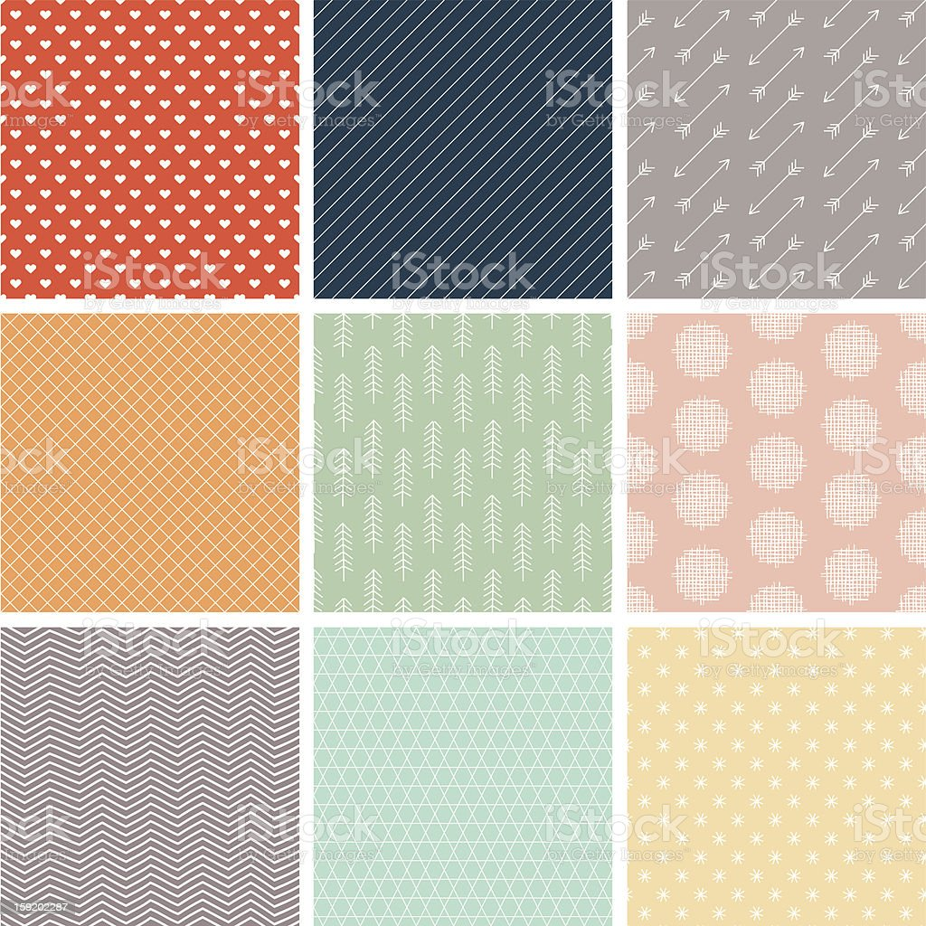 Preppy Seamless Vector Pattern Set vector art illustration