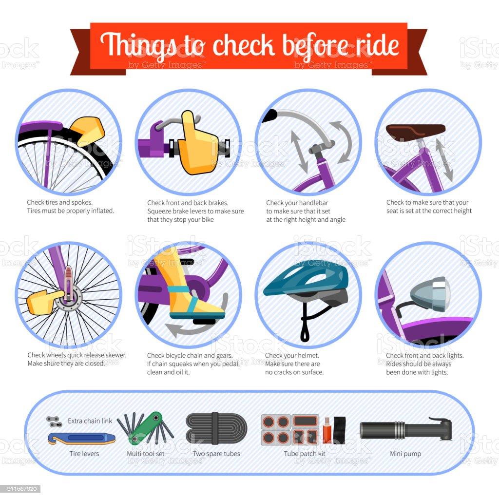 Pre-ride checklist for bicycle vector art illustration