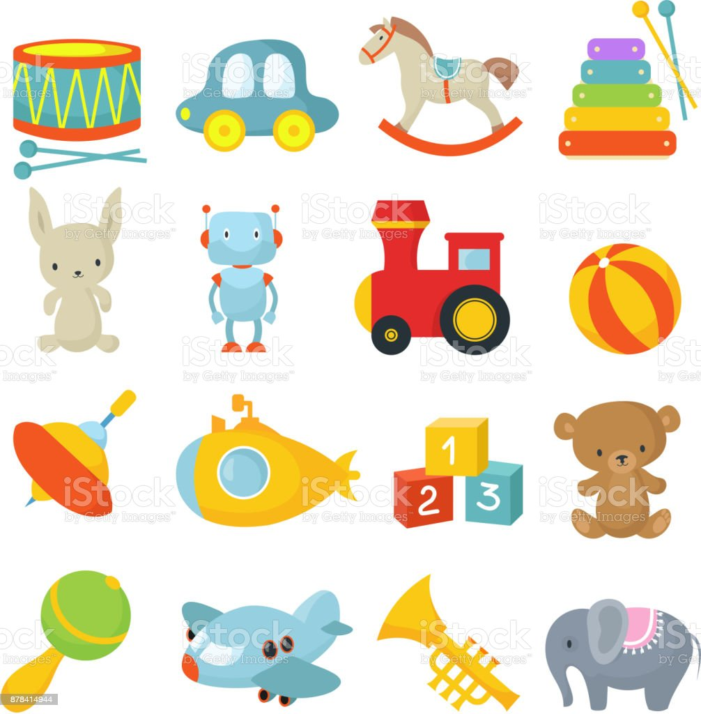 Preschool children toys isolated vector cartoon set vector art illustration