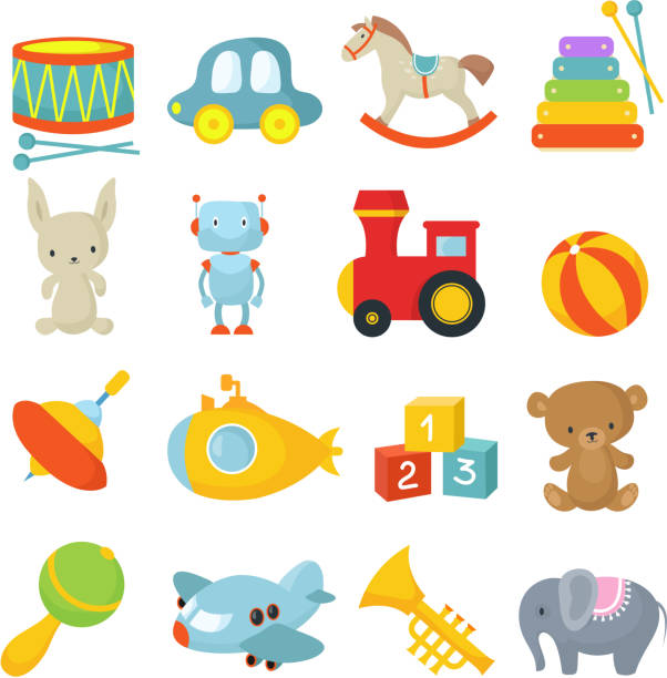preschool children toys isolated vector cartoon set - zabawka stock illustrations