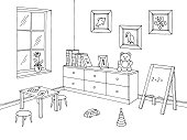 Preschool classroom graphic black white interior sketch illustration vector