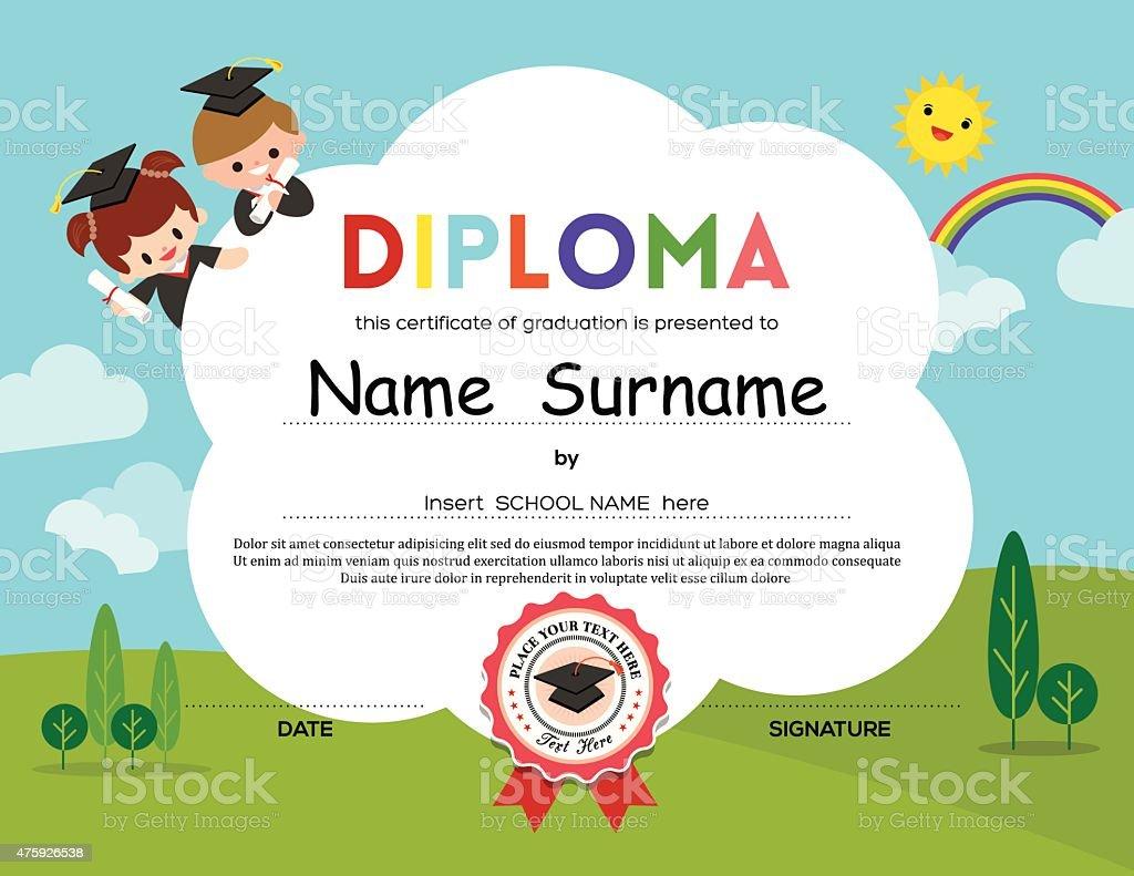 Preschool Elementary school Kids Diploma certificate background vector art illustration