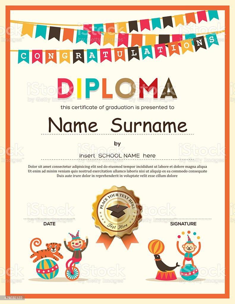 preschool elementary school kids diploma certificate background  preschool elementary school kids diploma certificate background royalty stock vector art