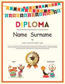Preschool Elementary school Kids Diploma certificate template with bunting flags background design