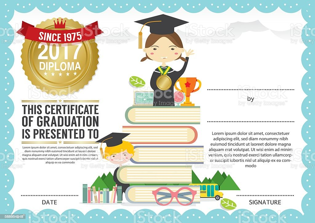Preschool elementary school kids diploma certificate background preschool elementary school kids diploma certificate background design template royalty free preschool elementary school kids yadclub Image collections