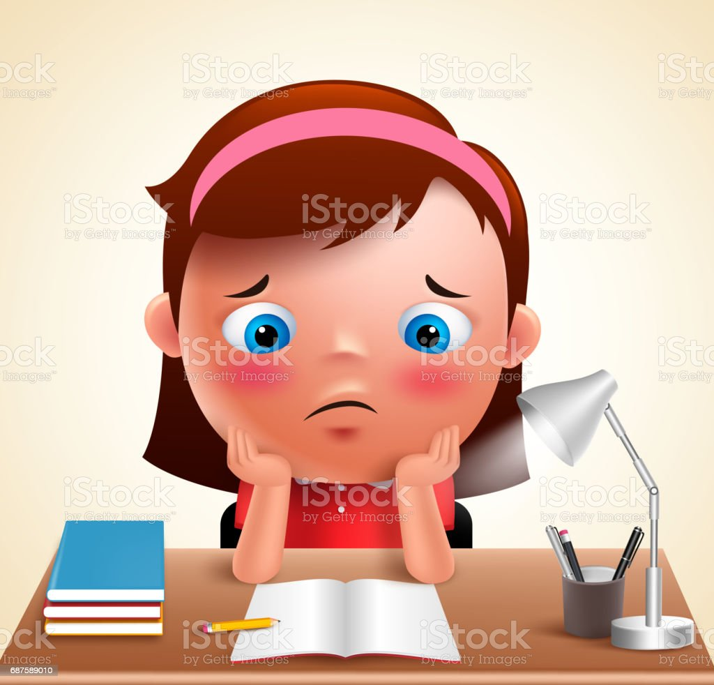 Preschool girl kid vector character bored studying school homework vector art illustration