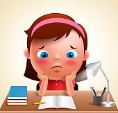 Preschool girl kid vector character bored studying school homework