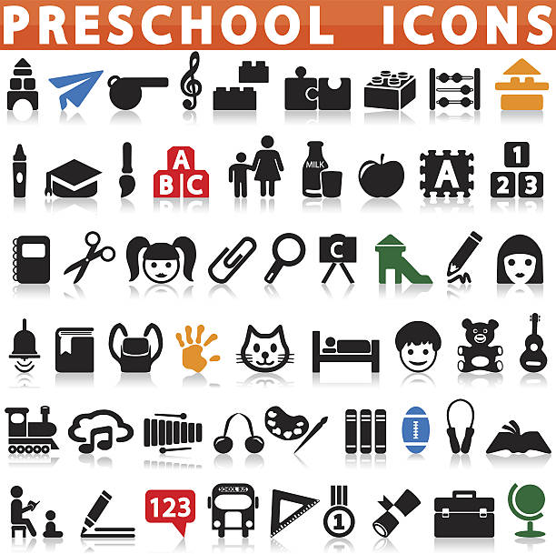 Preschool Icons Preschool Icons on a white background with a shadow female sandwich stock illustrations
