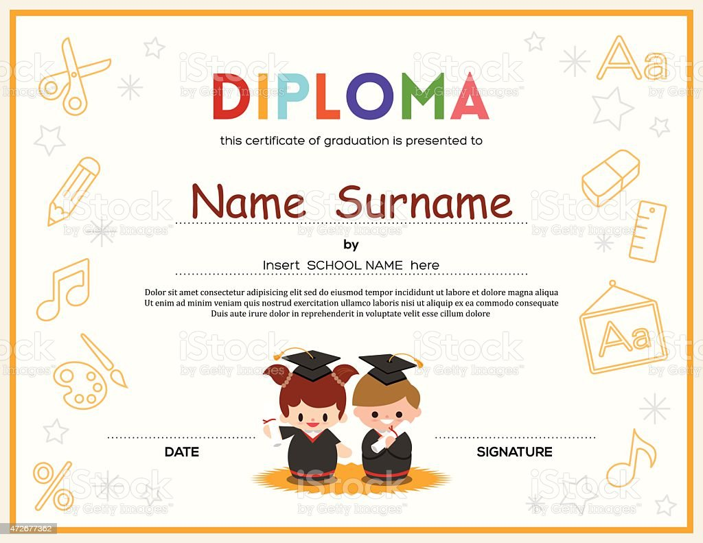 Preschool kids diploma certificate design template stock vector preschool kids diploma certificate design template royalty free stock vector art xflitez Images