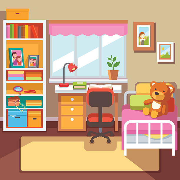 Royalty Free Child Bedroom  Clip Art Vector Images
