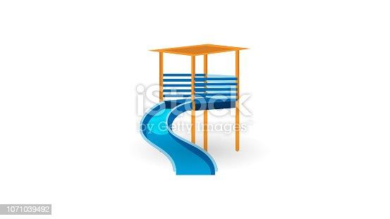 Preschool Sliding down slide, playhouse