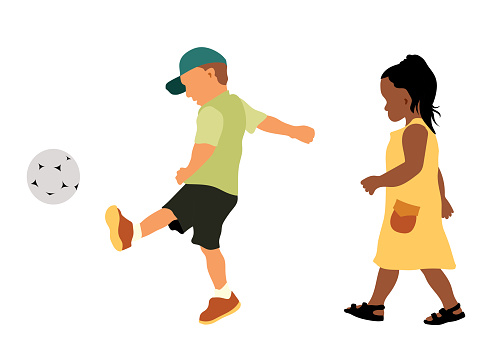 Preschool Soccer Play Flat Design