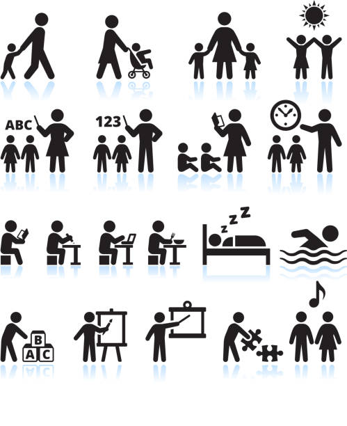 Preschool Summer camp and Child Daycare vector icon set Child Day Care and early education Black and White Icons Set This editable vector file features black icons on white background. The icons are organized in rows and can be used as app icons, online as internet web buttons, and in digital and print. preschool teacher stock illustrations