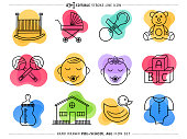 Creative and attractive doodle icons set of preschool teaching. Would be perfect vector illustration for those looking to design mobile applications, web pages, stationery, cards and more.