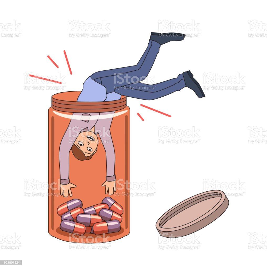 Prescription drug addiction. Guy diving into pill bottle. Vector illustration. Isolated on white background. vector art illustration