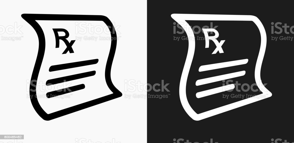 Prescription Icon On Black And White Vector Backgrounds Stock Vector