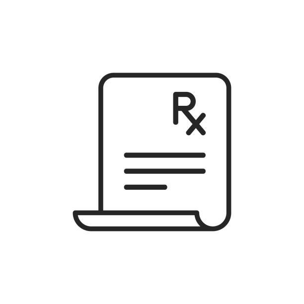 Prescription Line Icon. Pixel Perfect. For Mobile and Web. Editable Stroke. Prescription Line Icon. rx stock illustrations