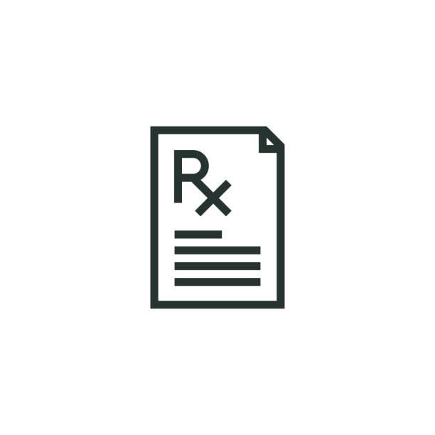 Prescription Line Icon Prescription Line Icon rx stock illustrations