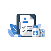 Health care program, medical services, insurance and treatment, prescription medicine, medication course, patient history record document, check list clipboard, pharmacology concept, vector icon