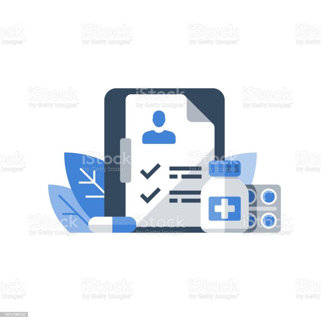 Verschreibungspflichtige Arzneimittel, Gesundheitsprogramm, medizinische Dienstleistungen, Versicherung und Behandlung, Medikamente natürlich Check Liste Zwischenablage – Vektorgrafik