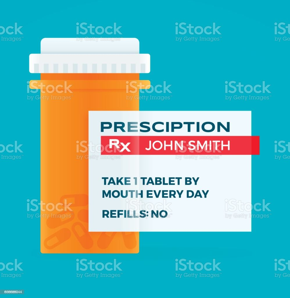 Prescription Medicine Pharmacy Pill Bottle vector art illustration