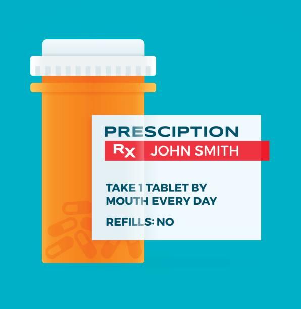 Prescription Medicine Pharmacy Pill Bottle Prescription medicine RX pharmacy pill drug bottle. pill container stock illustrations