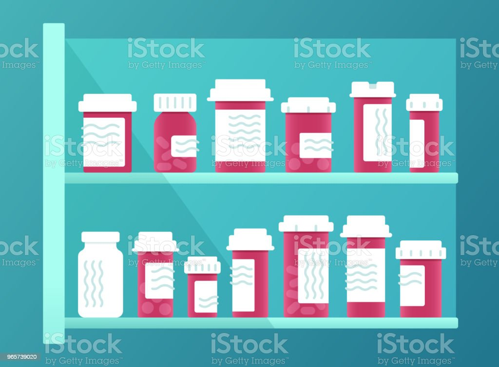 Voorschriftgeneeskunde - Royalty-free Antibioticum vectorkunst