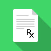 White paper with Rx sign on green background